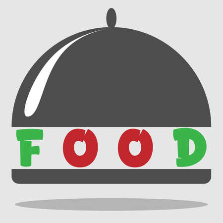 color logo of food, restaurant, cafe black and white minimalism with a dish and an inscription 1 Illusztráció