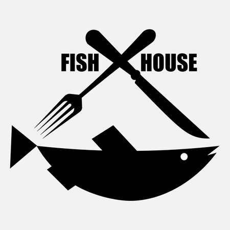 fish store logo with fish fork and knife Illusztráció