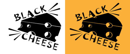 original logo of black cheese on white and yellow background