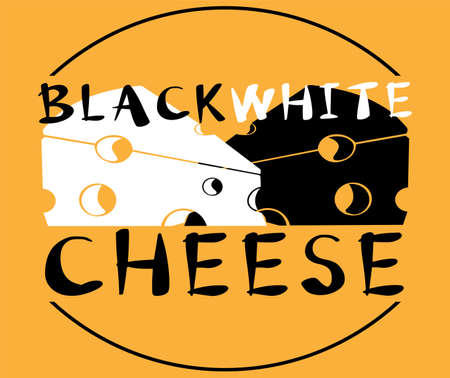 original logo of black and white cheese on white and yellow background