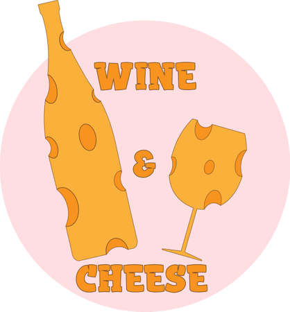 bottle and glass of cheese. logo wine and cheese 1