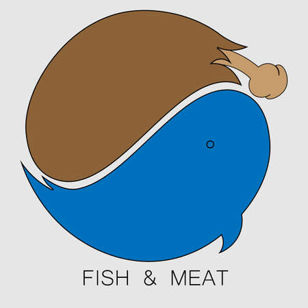 logo meat and fish in the form of a yin yang sign 1 Illusztráció