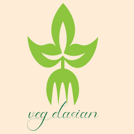 vegetarian food fork with green leaves logo 2