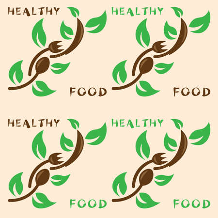 logo of healthy food in the form of a branch made of a spoon, fork, knife and green leaves 1