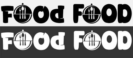 menu logo with inscription food and dish fork spoon and knife 3