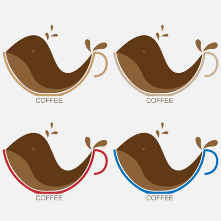 coffee logo with cup and whale shaped coffee 1