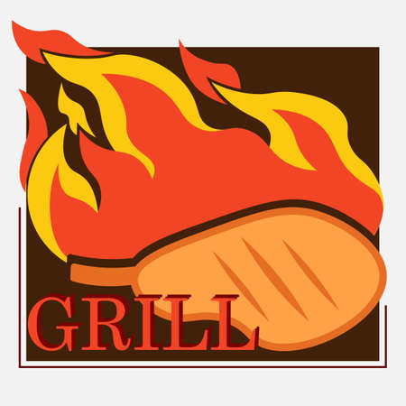 grilled meat logo with meat on the bone and fire 2