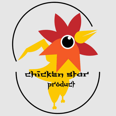 chicken head star logo with body parts and abstract egg shell 2