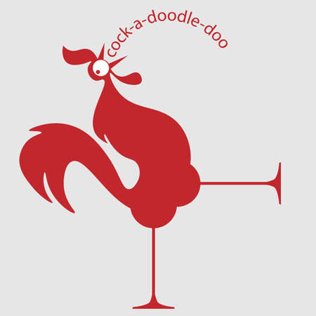 logo doodle red rooster screams his head thrown back. chicken products 1