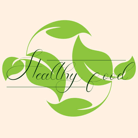 logo inscription healthy food on the background of carved green leaves 1