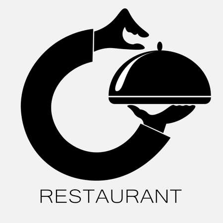 logo of the restaurant from the hands holding the dish with the lid
