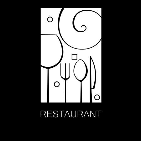 minimal black restaurant logo with cutlery outlines