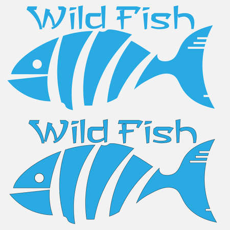minimal of cut fish wild fish with and without outline 2