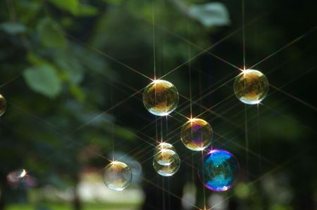 shined: Beautiful soap bubbles shined by the sun