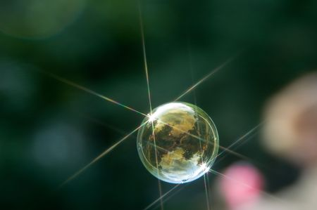 Beautiful soap bubbles shined by the sun