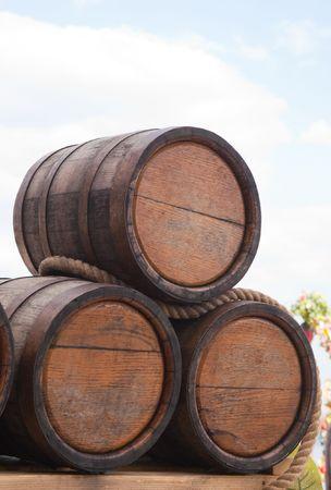 kegs: Oak kegs with grape wine Stock Photo