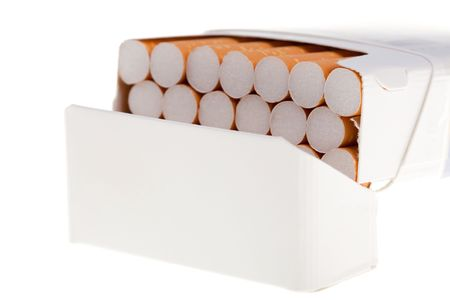 fag: A packet of cigarettes in close-up on a white background