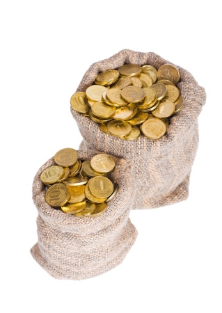 Bag of gold coins: Bags filled with coins. A white background. Isolated.   Kho ảnh