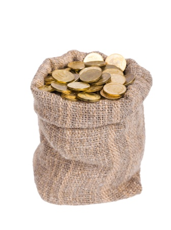 bag of money: Bag filled with coins. A white background. Isolated.