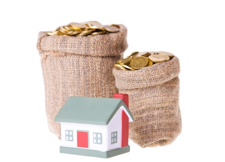 Toy small  house and bags with money. The concept of purchase of habitation Stock Photo - 8767460