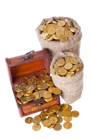 Wooden chest and two bags filled with coins. Isolated on a white background Stock Photo - 8767544