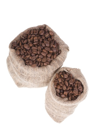 Coffee beans in canvas sack isolated on white Stock Photo - 8910396