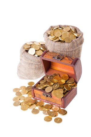 Wooden chest and two bags filled with coins. Isolated on a white background Stock Photo - 8910472