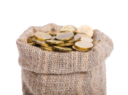 Bag of gold coins: Bag filled with coins. A white background. Isolated.