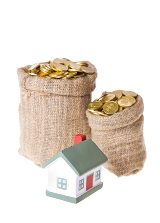 Toy small  house and bags with money. The concept of purchase of habitation Stock Photo - 9060340