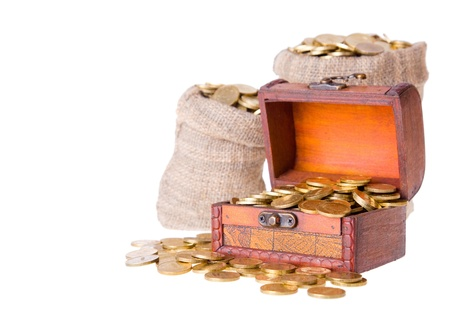 Wooden chest and two bags filled with coins. Isolated on a white background Stock Photo - 9060358
