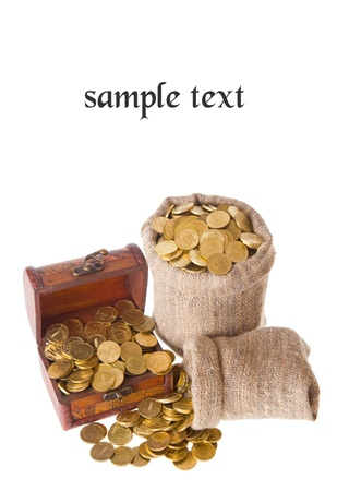 Wooden chest and two bags filled with coins. Isolated on a white background Stock Photo - 9060365