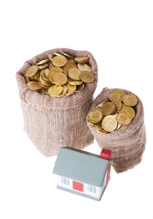 Toy small  house and bags with money. The concept of purchase of habitation Stock Photo - 9139173