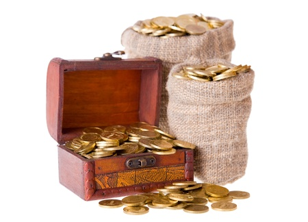 Wooden chest and two bags filled with coins. Isolated on a white background Stock Photo - 9139144