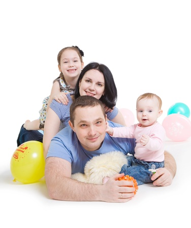 Happy family with two children Stock Photo - 9958784
