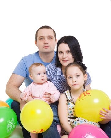 Happy family with two children photo