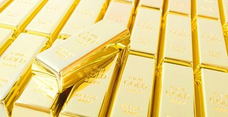Fine gold 999,9. Set of gold ingots. photo
