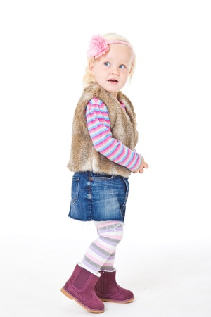 1 2 years: portrait of blonde girl in a fur vest