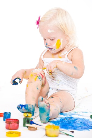 bedraggled: Bedraggled little girl with bright colors