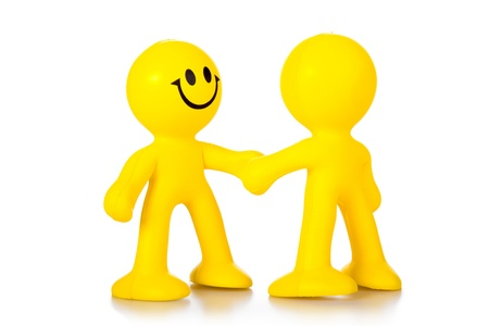 greet: Hand shake. Two persons greet, shaking each other hands