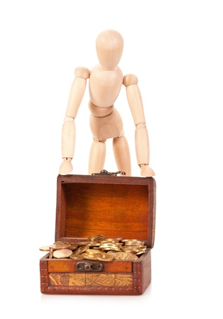 augmentation: Person costs near to a chest with money  Preservation and riches augmentation