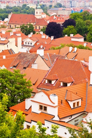 without windows: Tile roofs of the old city. Prague, Czech republic