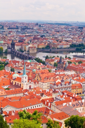 Tile roofs of old Prague. Top view photo