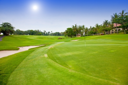 Green field for golf near hotel