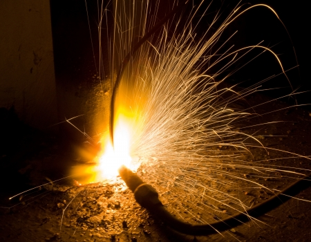 acetylene: Sparks in smelting industry Stock Photo