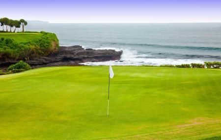 海海岸のゴルフコース 写真素材