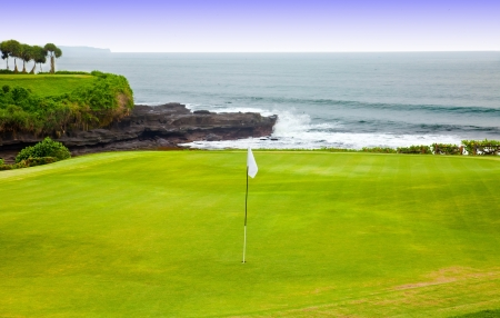 Golf course on an ocean coast Foto de archivo