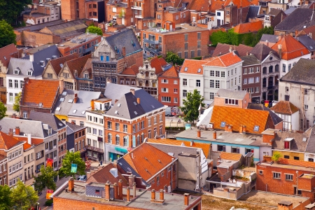 View of the city of Malines (Mechelen) from height of bird's flight, Belgium photo