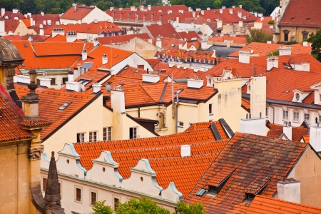Tile roofs of the old city. Prague, Czech republic photo