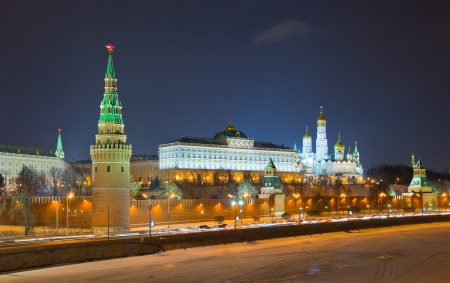 Beautiful and famous night view of Moscow Kremlin, Russia photo