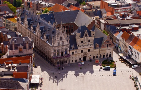 bird       s house: View of the city of Malines  Mechelen  from height of bird